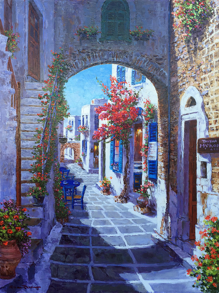 Title: MIKONOS , Size: 40 x 30 , Medium: Oil on Canvas