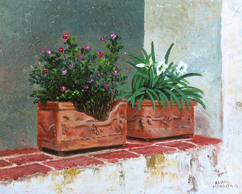 Title: CLAY POTS , Size: 8 x 10 , Medium: Oil on Panel