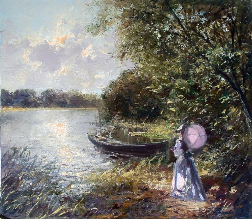 Title: GIRL BY THE LAKE , Size: 24 x 28 , Medium: Oil on Canvas