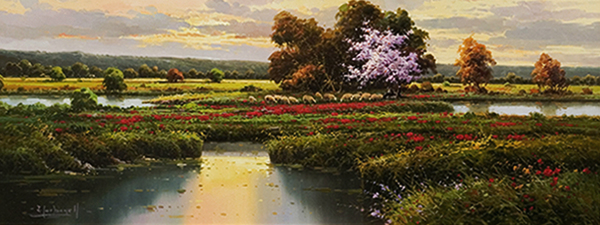 Title: LANDSCAPE , Size: 9 x 24 , Medium: Oil on Canvas