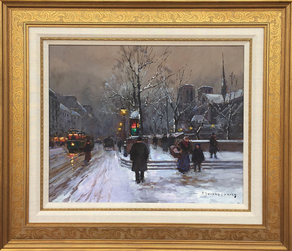 Title: NOTRE DAME IN SNOW , Size: 18.5 x 21 , Medium: Oil on Canvas