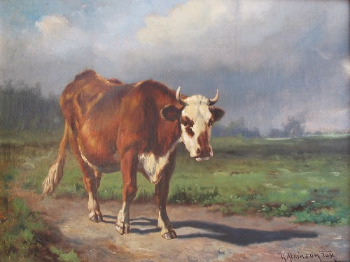 Title: COW , Size: 12 x 16 , Medium: Oil on Canvas