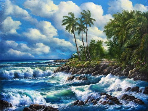Title: KE'ANAE PENNINSULA , Size: 30 x 40 , Medium: Oil on Canvas