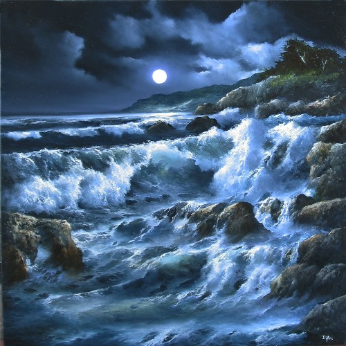 Title: BY THE LIGHT OF THE MOON , Size: 20 x 20 , Medium: Oil on Canvas