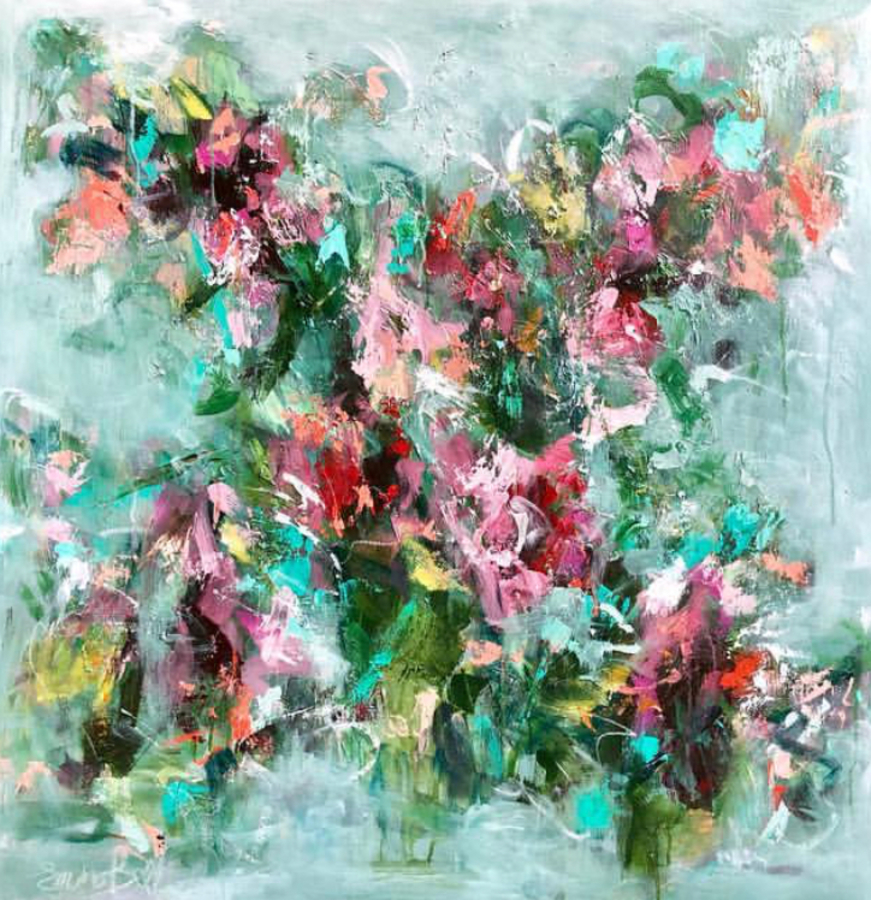 Title: Pink in Bloom , Size: 36 x 36 , Medium: Oil on Canvas
