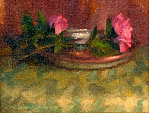 Title: TWO ROSES , Size: 9 x 12 , Medium: Oil on Panel