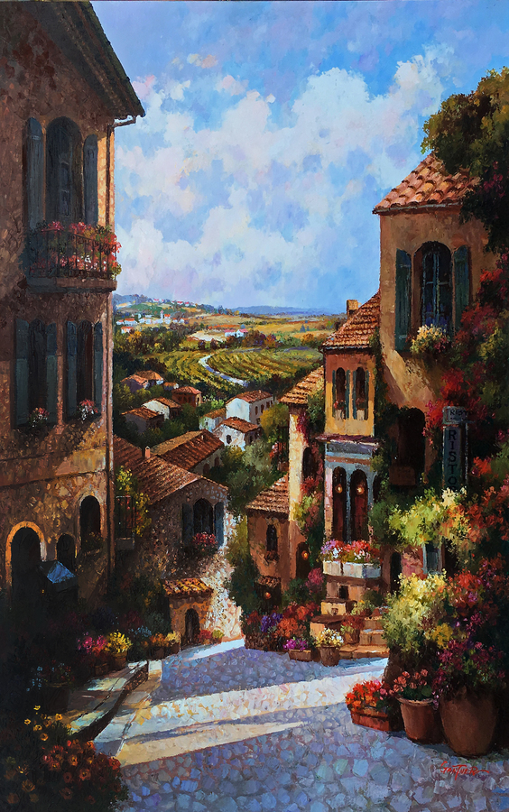 Title: Tuscan Vineyards , Size: 40 x 30 , Medium: Oil on Canvas