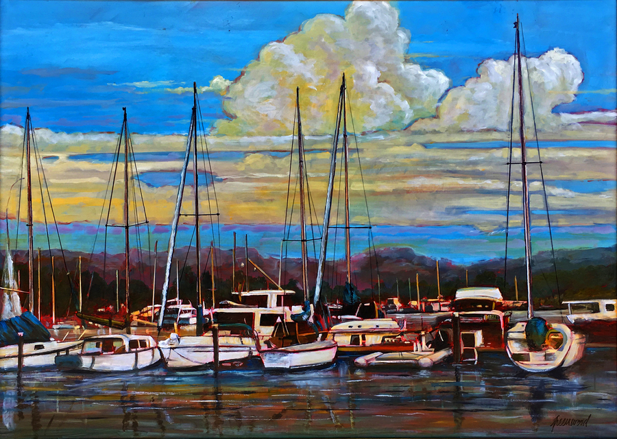 Title: SD Marina , Size: 36 x 48 , Medium: Oil on Panel