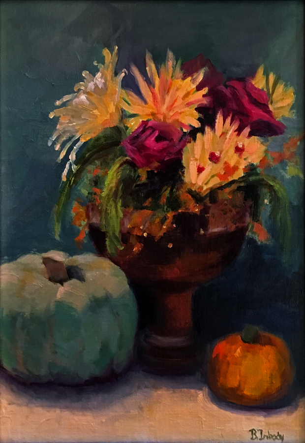 Title: Floral with Pumpkins , Size: 16 x 12 , Medium: Oil on Panel