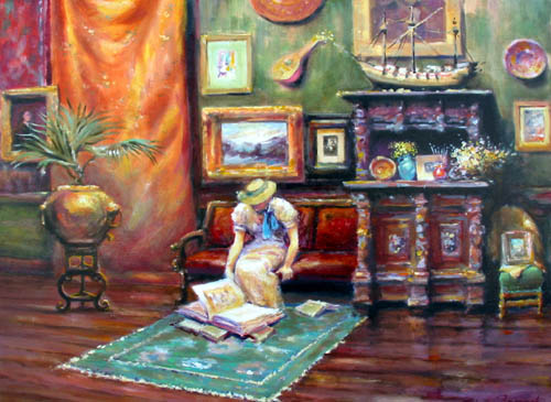 Title: INTERIOR , Size: 23 x 28 , Medium: Oil on Canvas