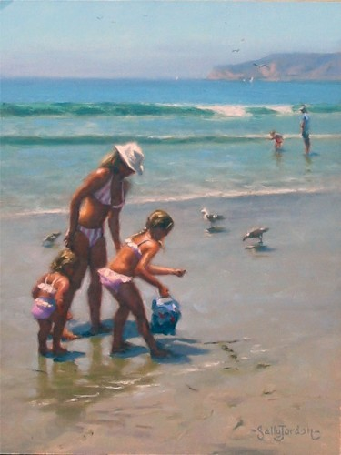 Title: BEACH SCENE , Size: 16 x 12 , Medium: Oil on Canvas
