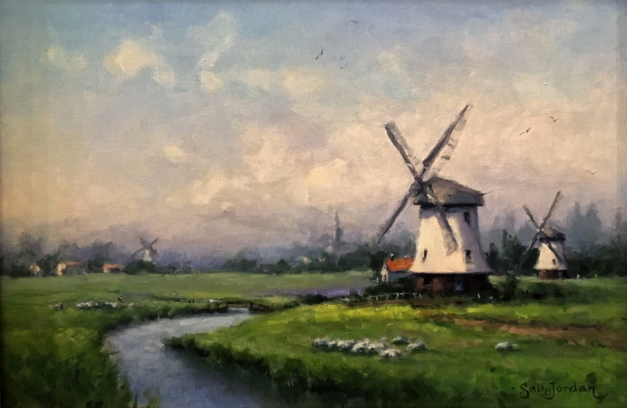 Title: Windmills in the Mist , Size: 12 x 16 , Medium: Oil on Panel