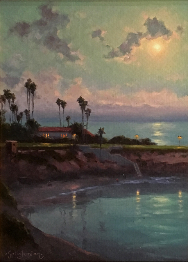 Title: Moonlight Over La Jolla , Size: 16 x 12 , Medium: Oil on Panel