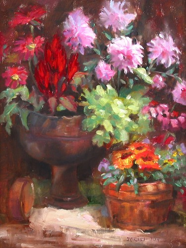Title: POTTED FLOWERS , Size: 16 x 12 , Medium: Oil on Canvas