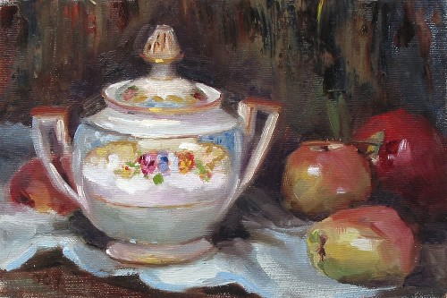 Title: STILL LIFE , Size: 7 x 10 , Medium: Oil on Canvas