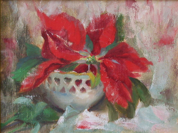 Title: POINTSETTIA , Size: 9 x 12 , Medium: Oil on Canvas