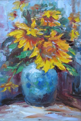 Title: SUNFLOWERS , Size: 18 x 12 , Medium: Oil on Canvas