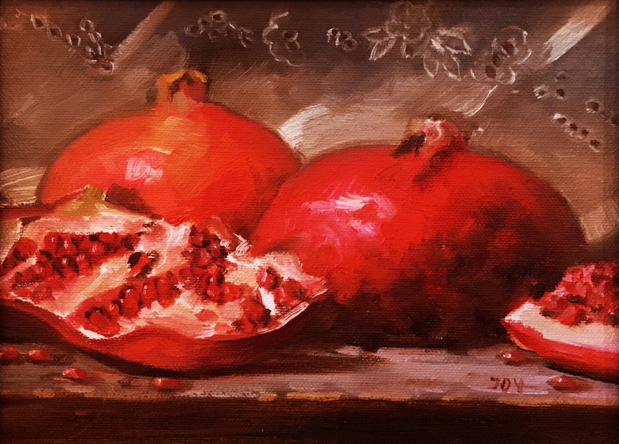 Title: Pomegranates , Size: 7 x 9 , Medium: Oil on Panel