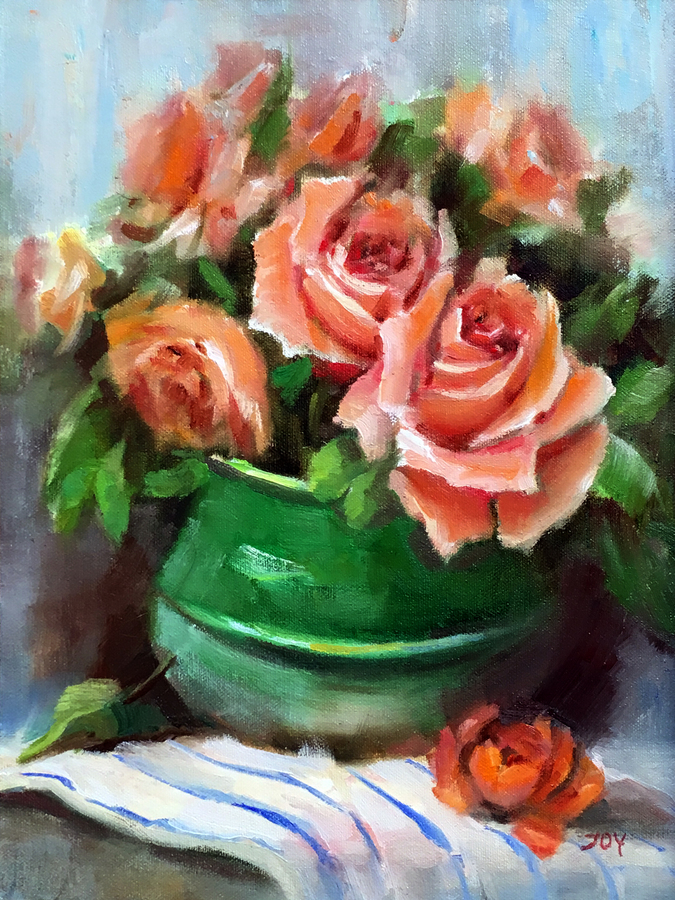 Title: Peach Roses , Size: 12 x 9 , Medium: Oil on Panel