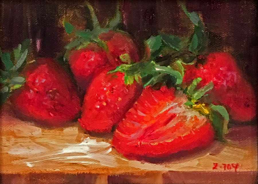 Title: Strawberries , Size: 5 x 7 , Medium: Oil on Panel