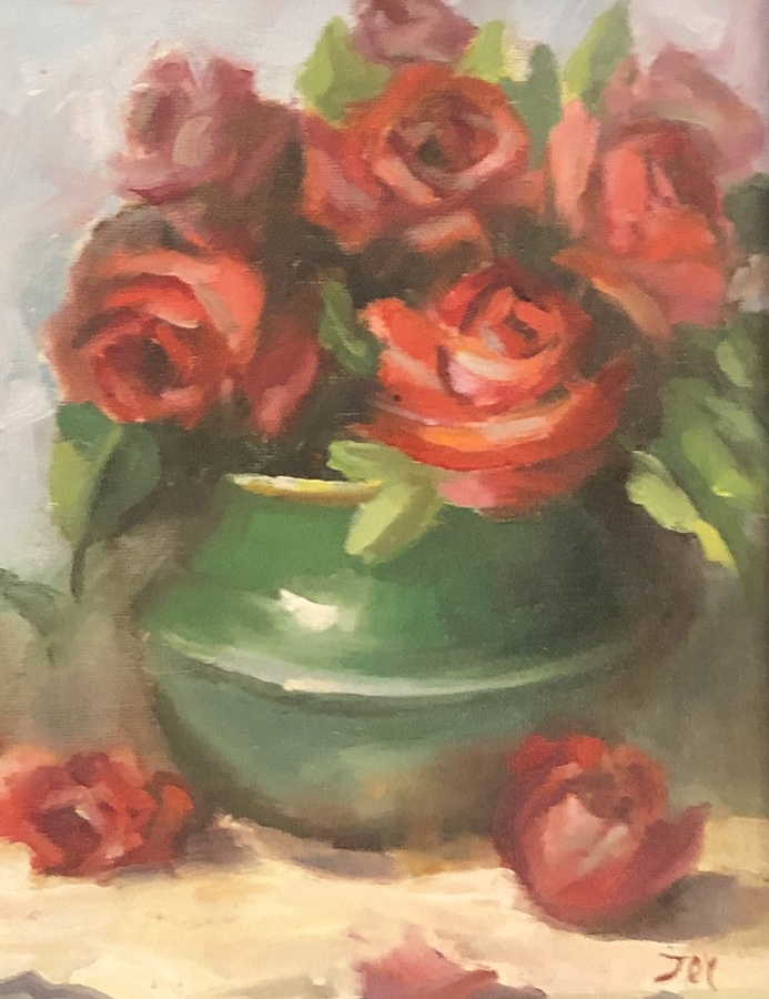 Title: Red Roses with Green Vase , Size: 11 x 9 , Medium: Oil on Panel