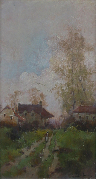 Title: FRENCH LANDSCAPE , Size: 14 x 6.5 , Medium: Oil on Canvas