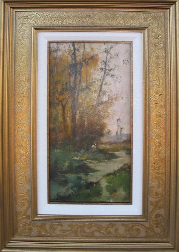 Title: BY THE STREAM FRANCE , Size: 14 x 6.5 , Medium: Oil on Canvas