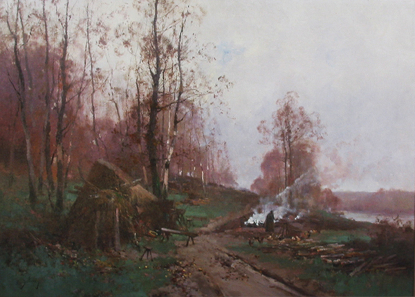 Title: FRENCH WINTER LANDSCAPE , Size: 25 x 35 , Medium: Oil on Canvas