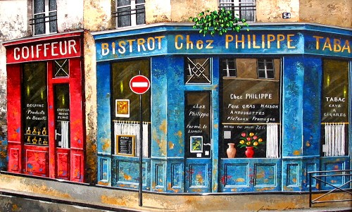 Title: BISTROT CHEZ PHILIPPE , Size: 12 x 16 , Medium: Oil on Canvas