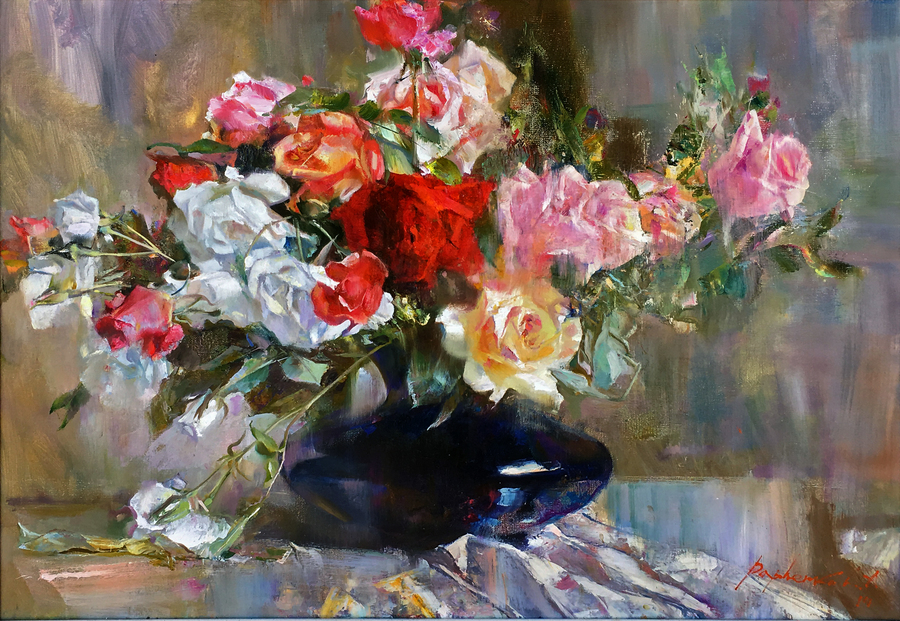 Title: Scent of Roses , Size: 24 x 30 , Medium: Oil on Canvas