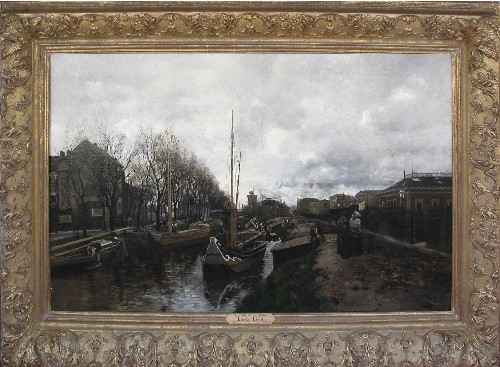 Title: BOAT SCENE - SEINE RIVER , Size: 29 x 47.5 , Medium: Oil on Canvas