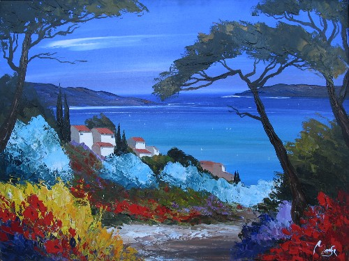 Title: AZURE BAY , Size: 30 x 40 , Medium: Oil on Canvas