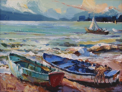 Title: RESTING BOATS , Size: 12 x 19 , Medium: Oil on Canvas