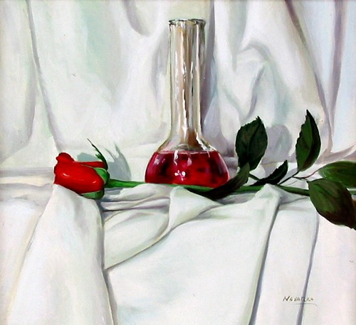 Title: STILL LIFE WITH ROSE , Size: 10 x 10 , Medium: Oil on Canvas