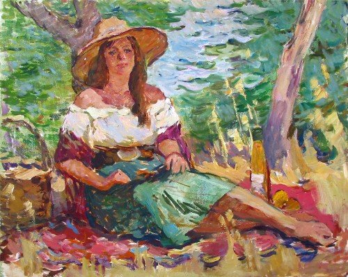 Title: GIRL BY THE LAKE , Size: 29.5 x 23.5 , Medium: Oil on Canvas