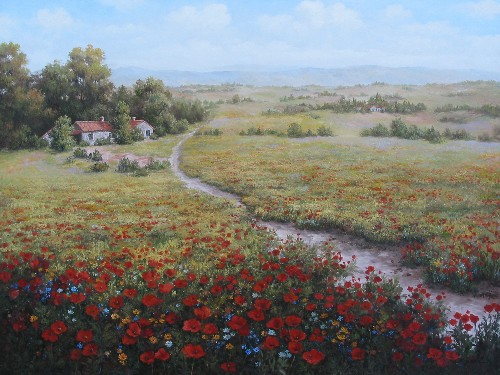 Title: PASSAGE TO TUSCANY , Size: 36 x 42 , Medium: Oil on Canvas