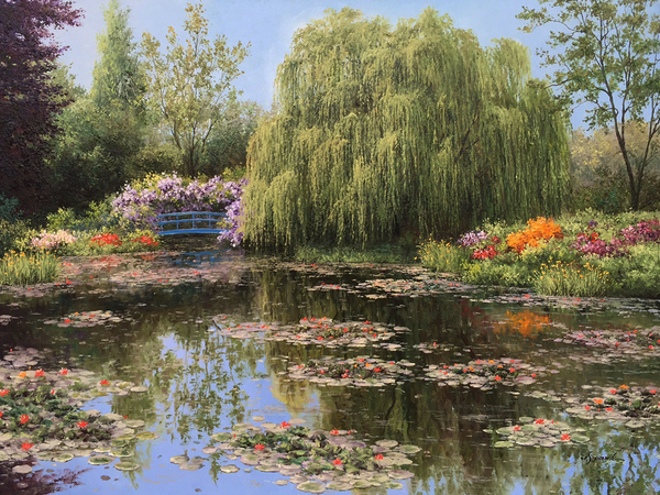 Title: COLORS OF MONET'S GARDEN , Size: 36 x 48 , Medium: Oil on Canvas