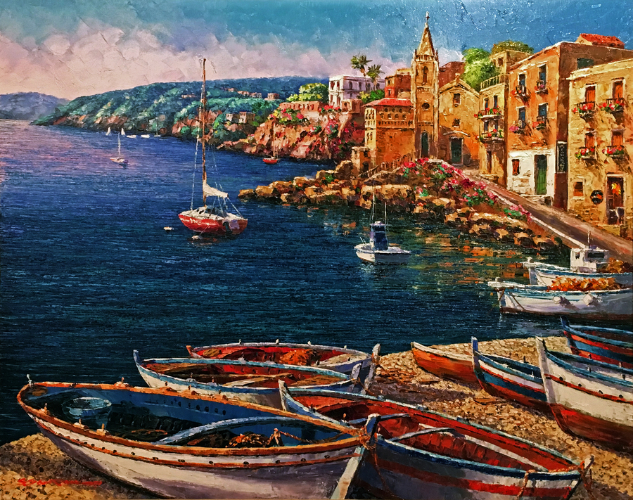 Title: Lipari, Sicily , Size: 30 x 24 , Medium: Oil on Canvas
