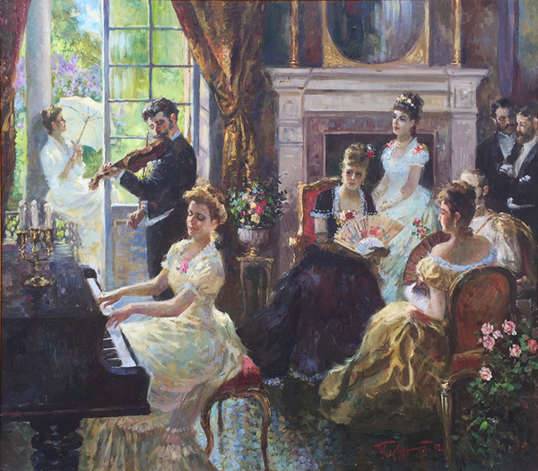 Title: PIANO CONCERT , Size: 28 x 32 , Medium: Oil on Canvas