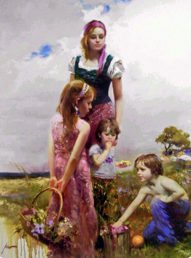 Title: Lady with Children on the Beach , Size: 50 x 40 , Medium: Oil on Canvas