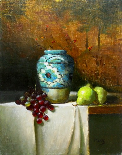 Title: STILL LIFE WITH GRAPES AND PEARS , Size: 24 x 18 , Medium: Oil on Canvas