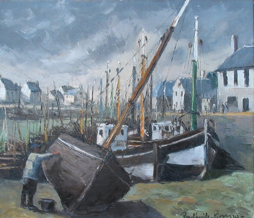 Title: PORT SCENE FRANCE , Size: 18 x 21 , Medium: Oil on Canvas