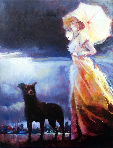 Title: LADY WITH PARASOL , Size: 26 x 34 , Medium: Oil on Canvas