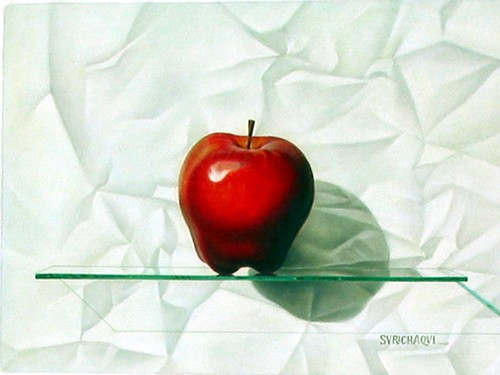 Title: RED APPLE , Size: 12 x 16 , Medium: Oil on Canvas
