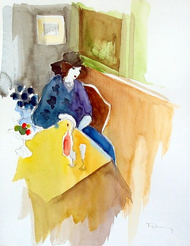 Title: LADY , Size: 15.5 x 12 , Medium: Watercolor