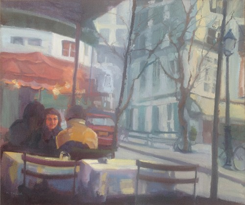 Title: CAFE SUR LA RUE , Size: 20 x 24 , Medium: Oil on Canvas