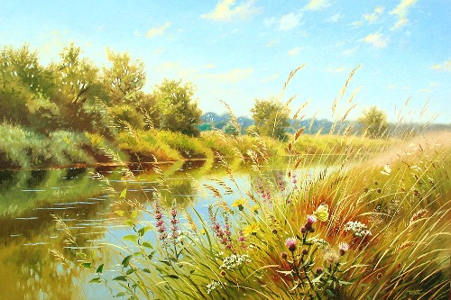 Title: SPRING LANDSCAPE , Size: 24 x 36 , Medium: Oil on Canvas