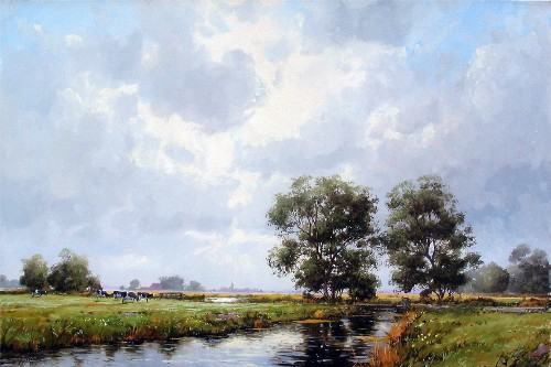 Title: DUTCH LANDSCAPE , Size: 16 x 24 , Medium: Oil on Canvas
