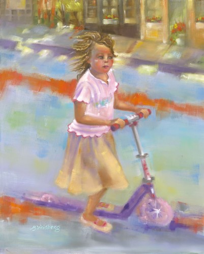 Title: LITTLE GIRL ON SCOOTER , Size: 16 x 20 , Medium: Oil on Canvas