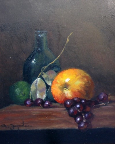 Title: GRAPE AND APPLE , Size: 8 x 10 , Medium: Oil on Canvas
